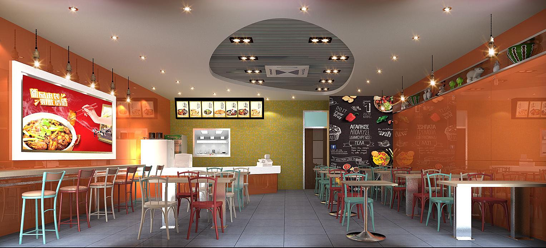小羽毛快餐厅设计    快餐店设计快餐店装修设计